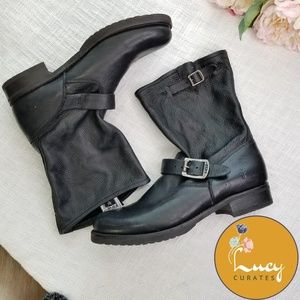 FRYE moto double buckle pull on black boots